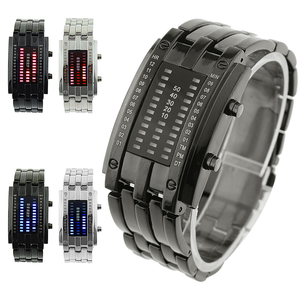 Amazing Black Silver Binary Matrix LED Digital Waterproof ...