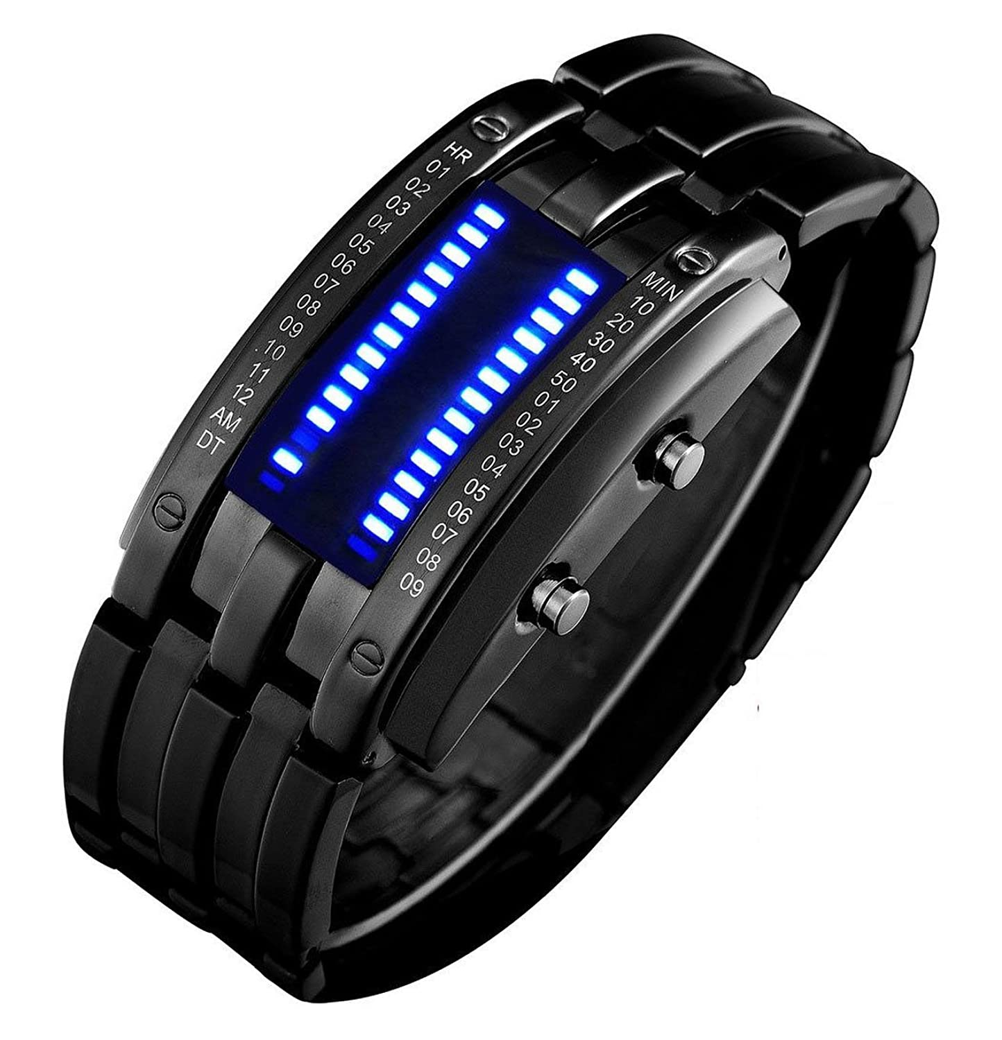 Binary Matrix Blue Led Digital Waterproof Watch Mens ...
