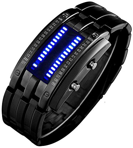 Binary Matrix Blue LED Watch - (Black Blue)