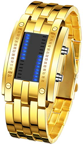 Binary Matrix Blue LED watch - (Gold)