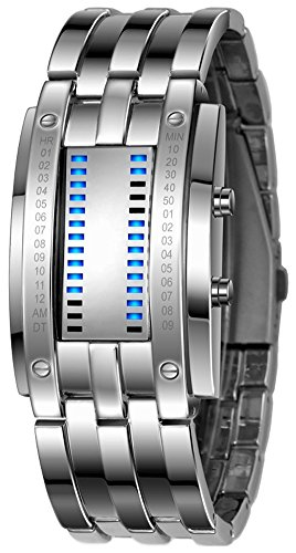 Binary Matrix Blue LED Watch - (Silver Blue)
