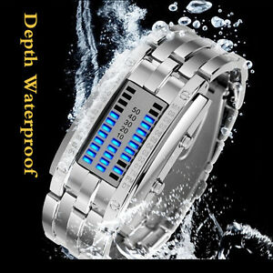 Black/Silver Binary LED Digital Watch Cool Futuristic ...