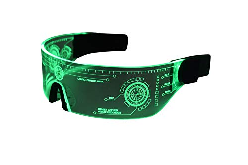 Cyberpunk LED Tron Visor Glasses - GREEN STYLE 2