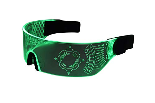 Cyberpunk LED Tron Visor Glasses - GREEN STYLE 1