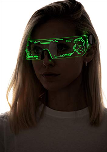 Cyberpunk LED Tron Visor Glasses - GREEN STYLE 4