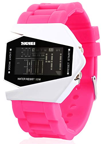Digital Airplane Shaped LED Colorful Light Watches (Black) (Pink)
