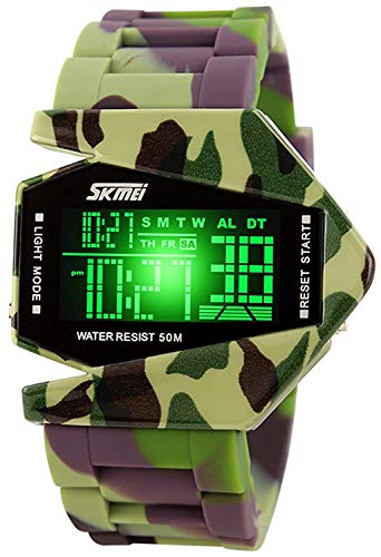 Digital Airplane Shaped LED Colorful Light Watches (Camo Green)