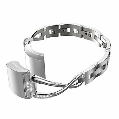 For Fitbit Alta / HR Lady Band Strap Silver Stainless Steel Rhinestone Bracelet