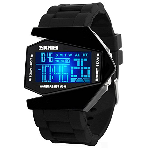 Digital Airplane Shaped LED Colorful Light Watches (Black) (Black)