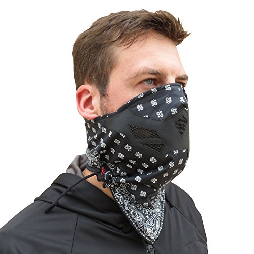 Half Face Mask for Cold Winter Weather. Use this Half Balaclava for Snowboarding, Ski, Motorcycle. (Many Colors)(Bandana- BW)