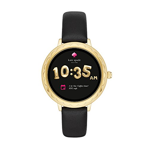 Kate Spade New York Scallop Touchscreen Smartwatch - Gold-tone Stainless Steel, Black Leather Band, 42mm, KST2001