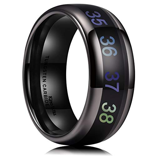 King Will Men's 8mm Black Temperature Measurement Tungsten Carbide Ring
