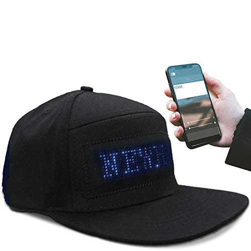 LED Magic Display Bluetooth Smart Hat Cool Fancy LED Smart Cap Mobile Phone APP Controlled Display Screen LED Hat Fashion Glowing Luminous for Party Club Night Club Blue