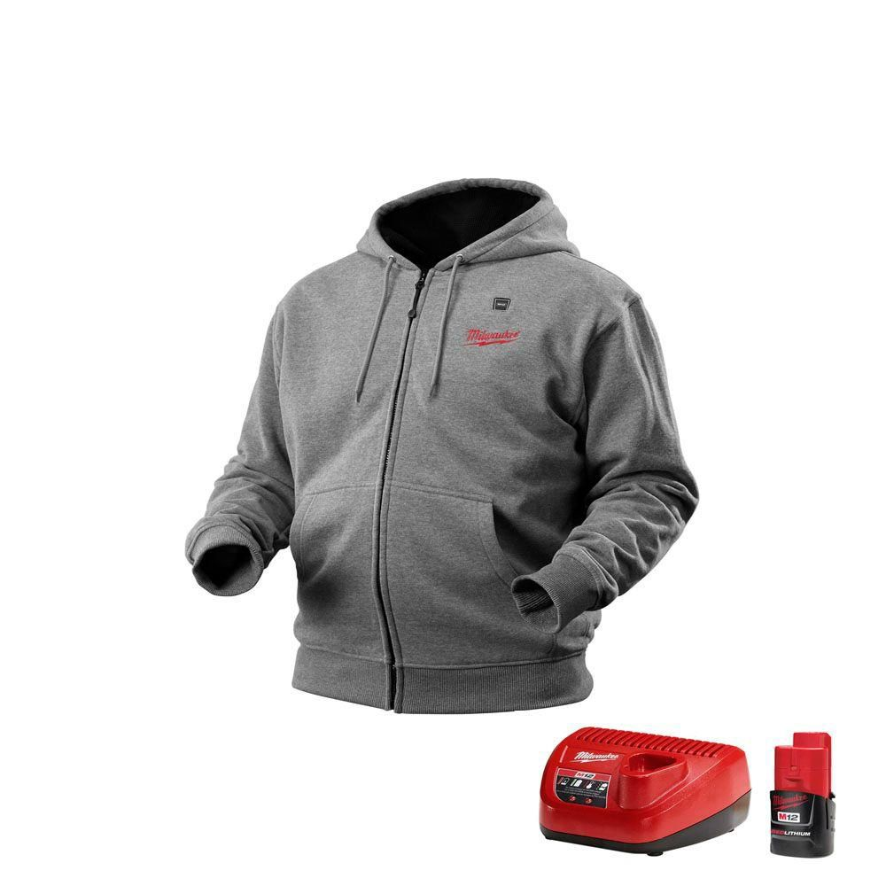 Milwaukee Tool M12 Cordless Gray Heated Hoodie Kit ...
