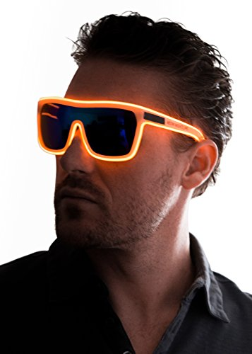 Neon Nightlife Orange Frame/Tinted Single Lens Tron Style Light Up Glasses