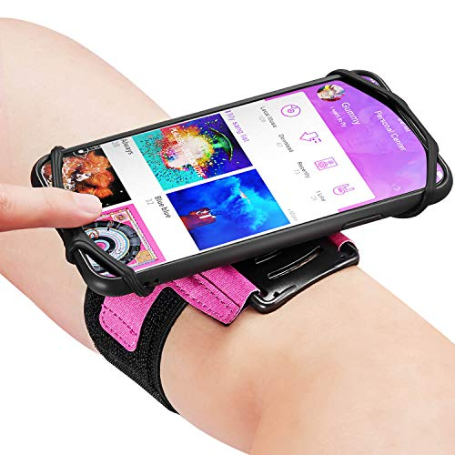 Newppon 180° Rotatable Armband with Key Holder - Pink