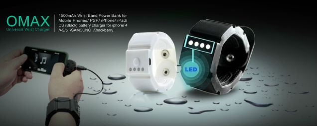 Omax Wrist Band Gadget Mobile Phone Battery Charger Power ...