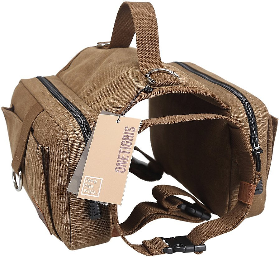OneTigris Cotton Canvas Dog Backpack, Brown - Chewy.com
