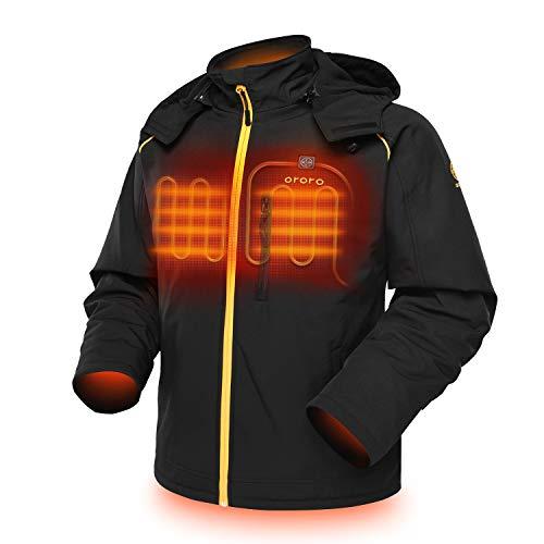ORORO Men's Soft Shell Heated Jacket - BLACK/GOLD