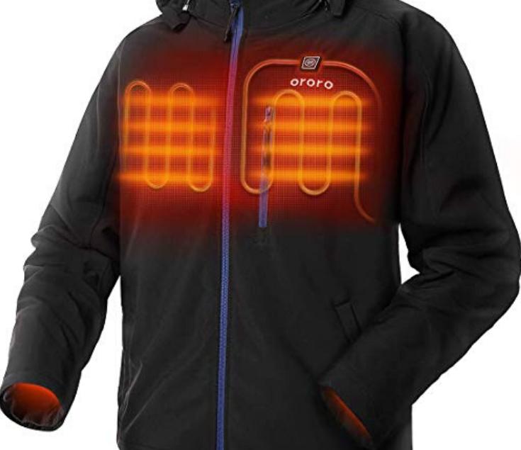 ORORO Men's Soft Shell Heated Jacket with Detachable Hood ...