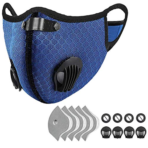 Outdoor Anti-dust Mask, PM 2.5 Windproof Cycling Facemask Washable Face Cover for Outdoor, Sports, Motorcycles (Blue)