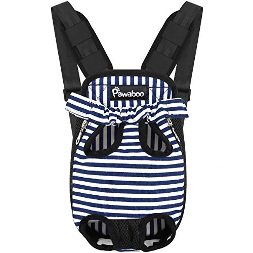 Pawaboo Pet Carrier Backpack - Large, Blue & White Stripes