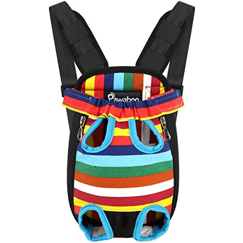 Pawaboo Pet Carrier Backpack - Extra Large, Colorful Strips