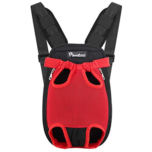 Pawaboo Pet Carrier Backpack for Small Medium Dogs Cats Puppies, Medium, RED