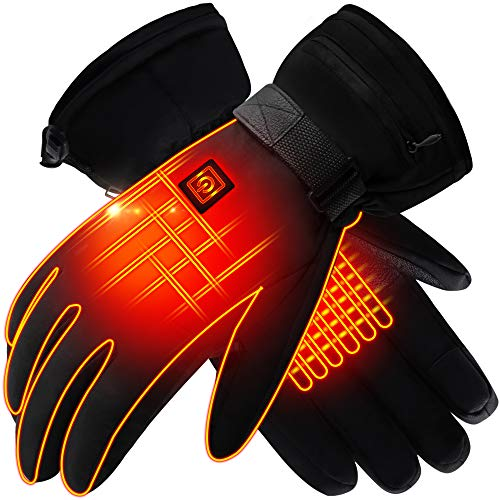 Rechargeable Battery Heated Gloves for Women Men, Electric Warm Thermal Gloves for Hiking Skiing Cycling Climbing, Waterproof Heated Texting Gloves Heat 3 Smart Gloves, Hand Warmer Winter Gloves