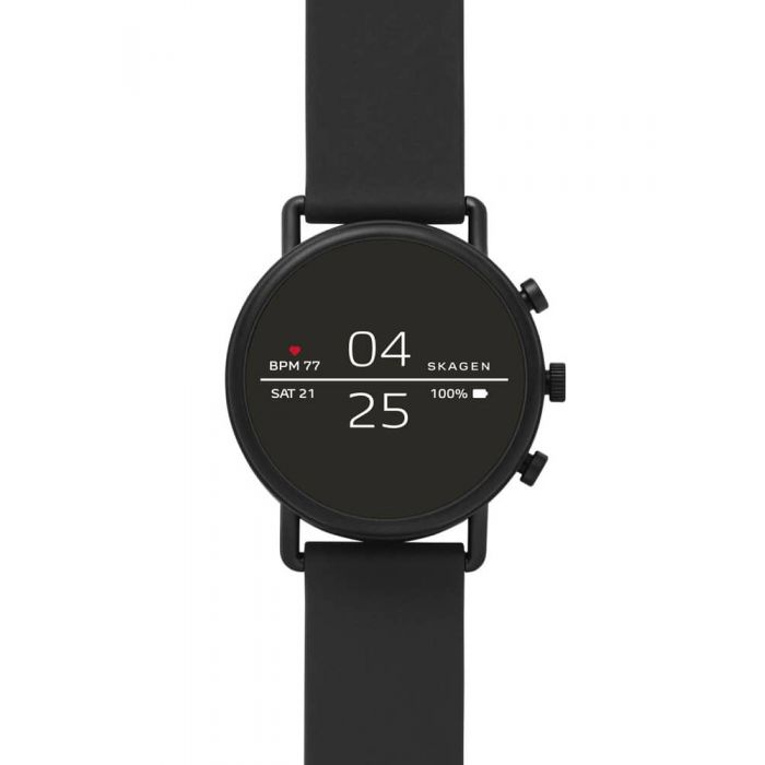 Skagen Connected Falster 2 Black Silicone Strap Smartwatch ...