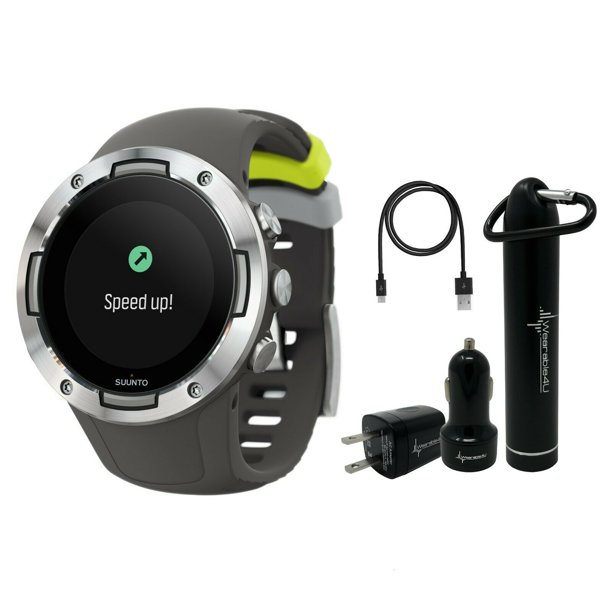 Suunto 5 Multisport Watch G1 with included Wearable4U Power Pack (Graphite Natural Steel)