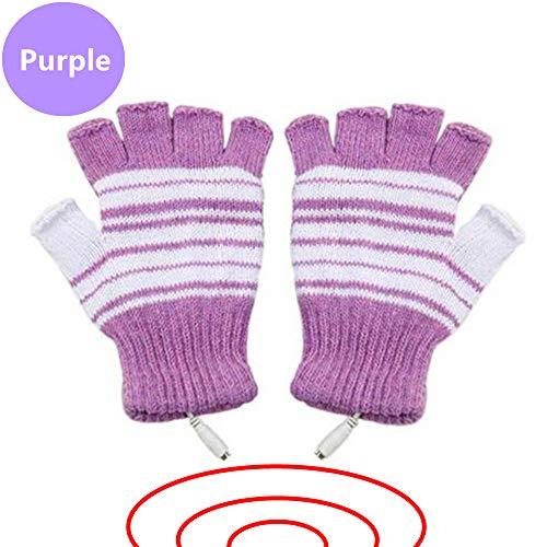 USB Powered Heated Fingerless Gloves - PURPLE