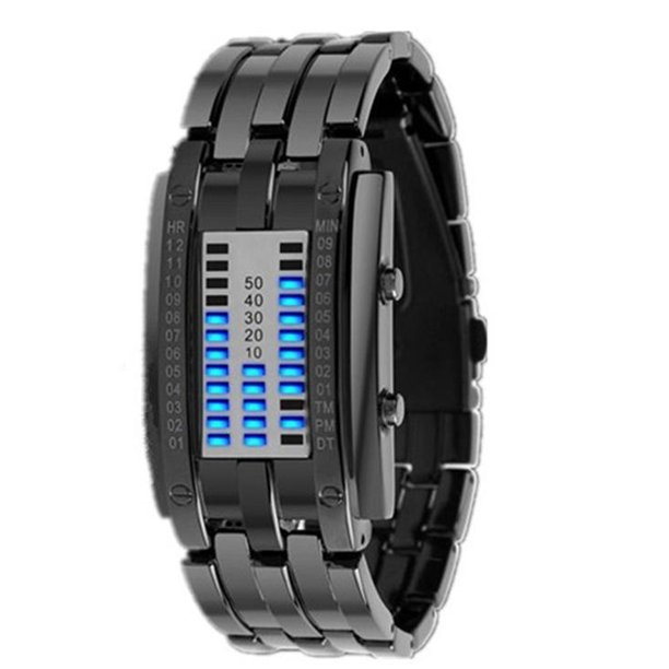 Waterproof Plating Watch Luxury Stainless Steel Binary Luminous LED Electronic Display Watches