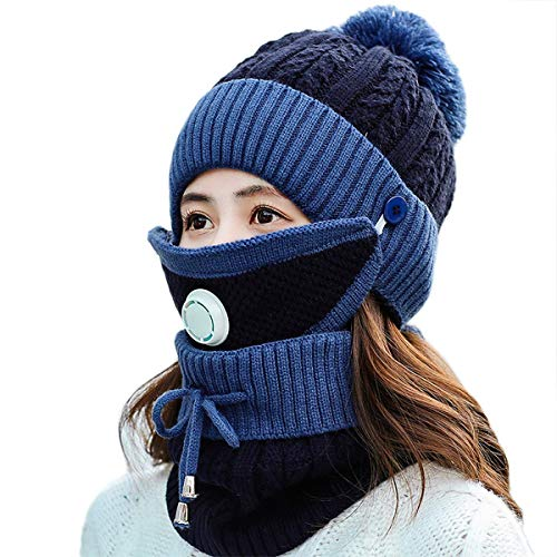 Womens Knitted Scarf with Breathing Valve and Filter