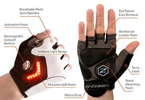 Zackees Award Winning LED Turn Signal Cycling Gloves with ...