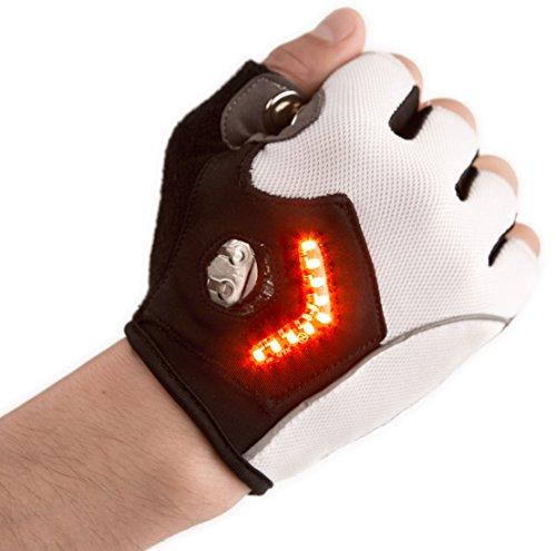 Zackees LED Turn Signal Gloves, White, XLarge