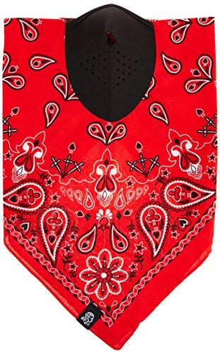 Zanheadgear NeoDanna Paisley 100 Percentage Cotton Bandanna with Neoprene Face Mask (Red)