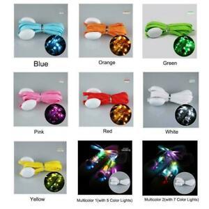 120cm LED Shoelaces Luminous Flashing Shoe Laces Nylon Strap Party Run Nigh V2W1 | eBay