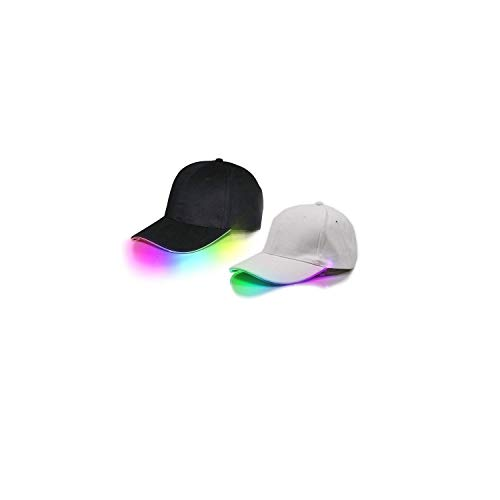 2 Pack LED Hat Light Up Baseball Cap with Multicolored Brim for Concerts, Rave Festivals,Halloween, Costume Parties, Mardi Gras, Carnivals, Gifts