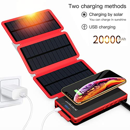 25000mAh Solar Charger - Red
