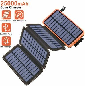 25000mAh Solar Charger Tranmix Solar Power Bank with 4 ...