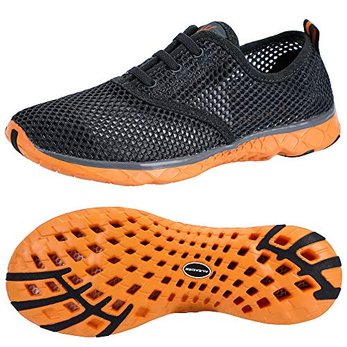 ALEADER Men's Aquatic Water Shoes Cozy Mesh Walking Sneakers Gray/Orange 10.5 D(M) US