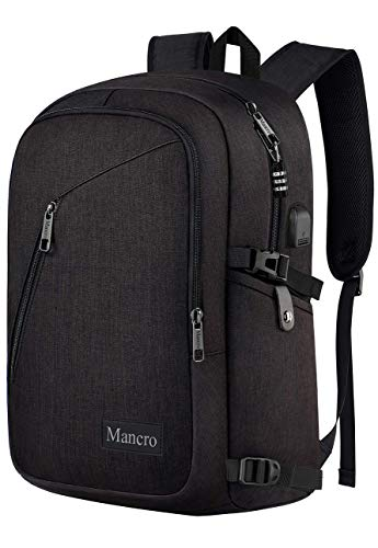 Alternative to Maleen - Business Travel Laptop Backpack, Anti Theft Slim Laptop Bookbag with USB Charging Port for men and women, Mancro Water Resistant College School Computer Bag Fits 15.6 Inch Laptop and Notebook (Black)