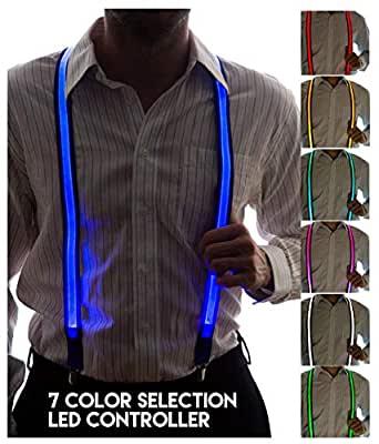 Amazon.com: Neon Nightlife Men's Light Up LED Suspenders ...