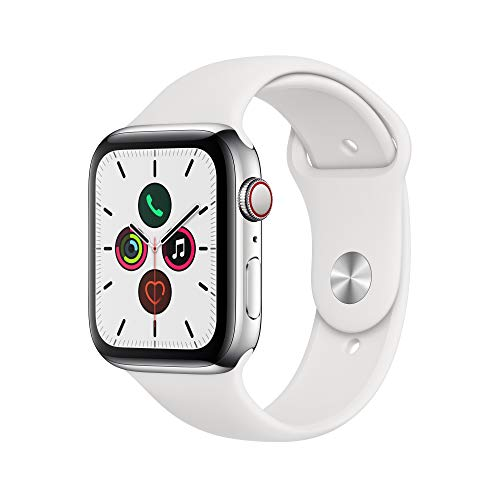 Apple Watch Series 5 - Stainless Steel Case with White Sport Band