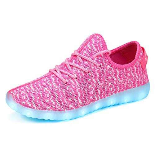 APTESOL Unisex LED Light Up Shoes Women Men Breathable Colorfull Flashing Sneakers Valentine's Day Halloween Xmas School Birthday Party Dance Shoes [Pink,4.5 Women/3.5 Men]