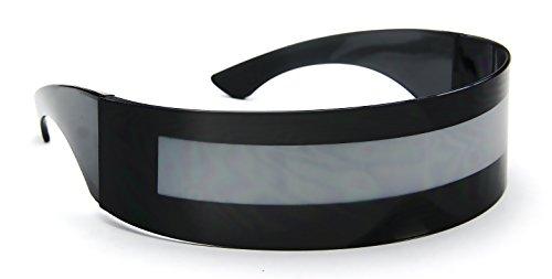 Black Shield Sunglasses Futuristic - BLACK WITH STRIPE