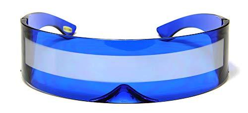 Blue Silver Shield Sunglasses - BLUE + SILVER