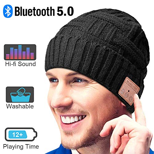 Bluetooth Beanie, Music Gifts for Men and Women,Upgraded Bluetooth 5.0 Music Hat, Wireless Headphone Built-in HD Stereo Speakers Hands Free Call, Winter Outdoor Sports & Christmas Gifts