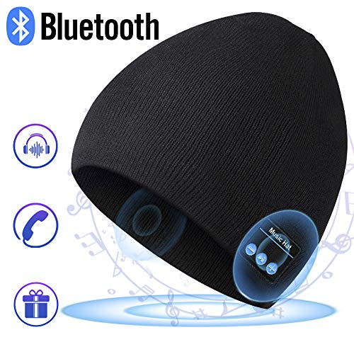 Bluetooth Hat Beanie for Mens Gifts, Music Hat with Wireless Bluetooth V5.0 Winter Hat Built-in HD Stereo Speakers & Microphone with Rechargeable USB for Winter Fitness Outdoor Sports (Classic Basic)
